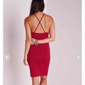 Red Missguided midi bodycon dress